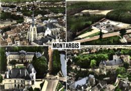 CPSM  Grand Format EN AVION AU DESSUS DE MONTARGIS Multivues Colorisée Colorisée  RV Edi Lapie - Montargis
