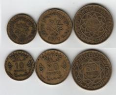 MAROC  10 + 20 + 50 Francs 1952 / AH 1371  Morocco - Marruecos
