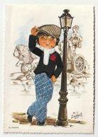 Carte Brodée Espagne Homme Devant Un Lampadaire Veste Noire Brodée Et Pantalon à Carreau 23 Madrid Isabel - Brodées