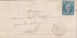 France Yvert 22 Lettre MARCIGNY Saône Et Loire 29/1/1865  GC 2201 Pour Mâcon - Postmark Collection (Covers)