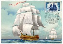 MARINE = 75 PARIS / MUSEE POSTAL 1955 = CARTE MAXIMUM LA VERTUEUSE + CACHET Illustré D'un Navire Ancien à Voile - Maximum Cards