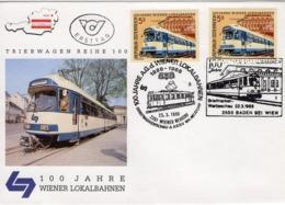 FDC - 100 Jahre Wiener Lokalbahn 2351 Wiener Neudorf - 2500 Baden Bei Wien  1988 Ersttag - FDC