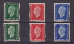 FRANCE : MARIANNE DE DULAC . N° 701A/701F . NON EMISE . LUXE . SIGNE CALVES . 1942 . - 1944-45 Marianna Di Dulac