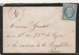 France Yvert 22 Lettre TULLINS Isère 4/5/1867 GC 4043 Pour Caserne Courtille Paris Verso Cachet Poste Restante Paris - Postmark Collection (Covers)