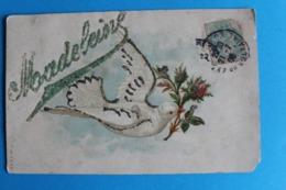 CPA Carte Postale Ancienne MADELEINE Colombe Rose Paillettes Timbrée Et Oblitérée - Voornamen
