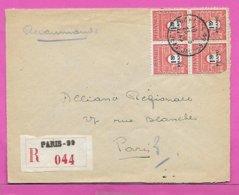 Lettre Recommandée Timbre Bloc De 4 Arc De Triomphe 1f 50 Obliteration PARIS 99  Rue Jean Jaures 1945 - Marcophilie (Lettres)