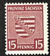 1945 Provinz Sachsen Provinzwappen Gezähnt Wasserzeichen 1X  Mi.80Xa*) - Zone Soviétique