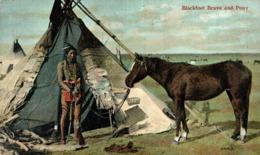 BLACKFOOT BRAVE AND PONY -  INDIO // INDIAN // INDIEN - Indios De América Del Norte