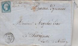France Yvert 14  Lettre MASCARA Algérie à Sévignac Canton Arudy Basses Pyrénées  - Cachet Ambulant X 3 - Storia Postale
