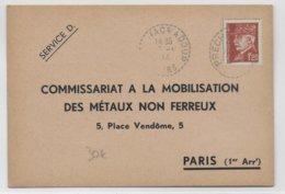 """1944 - CP """"METAUX NON FERREUX"""" - TAMBOUR De VILLE De JU-BELLOC (GERS) - - Marcophilie (Lettres)"""