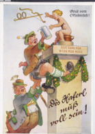 AK-div.31- 499   Humor ... Oktoberfest .... Dös Haferl Muß Voll Sein ! - Humor
