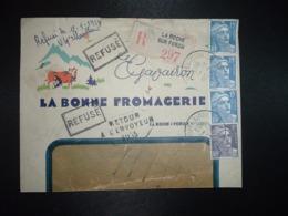 LR TP M. DE GANDON 15F X3 +5f OBL.10-1 1953 LA ROCHE SUR FORON HAUTE SAVOIE (74)LA BONNE FROMAGERIE + VACHE + THOUARS 79 - Marcophilie (Lettres)