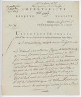 Franchise Colmar An 4 - 27.8.1796 L'Accusateur Public Renseignement Sur Un Aumônier Militaire - Marcophilie (Lettres)