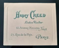 MODE  CARTE VISITE 1910 HENRY CREED STERN LADIES TAILOR MODE PARFUM TAILORING HOUSE FASHION UK FRAGANCE PARFUMERIE - Cartes De Visite