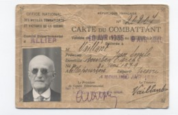 MILITARIA - Carte Du Combattant ALLIER 35-40     -RECTO/VERSO - B72 - Documents