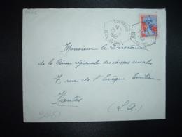 LETTRE TP M. A LA NEF 0,25 OBL. HEXAGONALE Tiretée 25-6 1960 COMBRAND DEUX-SEVRES (79) - Handstempels