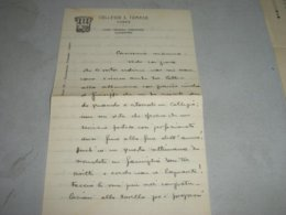 LETTERA SU CARTA INTESTATA COLLEGIO S.TOMASO CUNEO - Diplomi E Pagelle