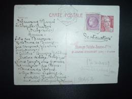 CP EP M. DE GANDON 3F50 + MAZELIN 1F50 OBL. HEXAGONALE Tiretée 15-3 1948 LA CHAPELLE GAUDIN DEUX-SEVRES (79) - Postmark Collection (Covers)