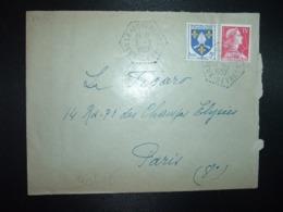 LETTRE TP M. DE MULLER 15F + SAINTONGE 5F OBL. HEXAGONALE Tiretée 3-9 1957 LA ROCHENARD DEUX-SEVRES (79) - Cachets Manuels