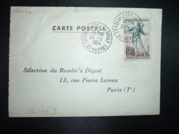 CP TP FIGARO 12F OBL. Tiretée 24-5 1954 CERZEAU-AZAY LE BRULE DEUX-SEVRES (79) - Cachets Manuels