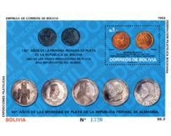 Ref. 151081 * MNH * - BOLIVIA. 1993. 140 ANIVERSARIO DE LA PRIMERA MONEDA DE PLATA DE BOLIVIA - Monedas
