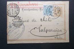 Austria: 1898 Uprated Postal Card To Valparaiso, Chile-Left Faulty (#YT2) - Storia Postale