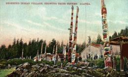 DESERTED INDIAN VILLAGE SHOWING TRIBE TOTEMS ALASKA. - INDIOS // INDIANS - Estados Unidos