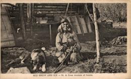 MID SNOW AND ICE. A CREE WOMAN AT HOME. INDIO // INDIAN - Indios De América Del Norte