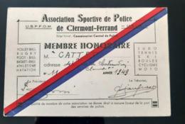 POLICE CLERMONT FERRAND 1949 CARTE MEMBRES USPFOM ASSOCIATION SPORTIVE POLICIER GENDARME COMMISSARIAT MILITARIA - Police