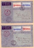 Schweiz Suisse 1939: Vol Special Croix-Rouge Zu 240-241 Mi 357-358 Yv 342-3 Avec O GENÈVE & ZÜRICH 30.VIII.39 - Cruz Roja