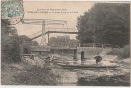 10) PONT SUR SEINE (ENVIRONS DE NOGENT SUR SEINE) LE PONT LEVIS ET LE CANAL - (ANIMEE - PERSONNAGES - BARQUE - LAVEUSE) - France