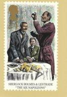 "24 P 1993 United Kingdom Stamp Picture Card Series Sherlock Holmes & Lestrade In ""The Six Napoleons"" - Francobolli (rappresentazioni)"