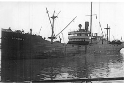 """Photo Récente Bateau """" Athénée """" Ex """"War Visor """" S.N.D.V.Delmas Vieljeux 1918 Sunderland 1935 Détruit à La Spezia - Riproduzioni"""