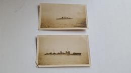 ANTIQUE ORIGINAL PHOTO X2 PORTUGAL PORTUGUESE WAR SHIPS ( UNKNOWN NAMES) - Guerre, Militaire