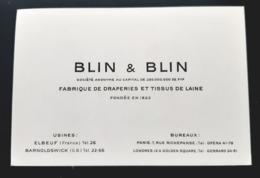 BLIN & BLIN MANUFACTURE ELBEUF DRAPERIES TISSU LAINE FABRIQUE DRAPIERE NORMANDIE 76 FABRIC WOOL CARTE VISITE ANCIENNE - Cartes De Visite