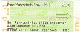 BRD Weinheim Rnv = Rehein-Neckar-Verkehrsverbund Fahrschein PS 1 Strassenbahn 2018 - Strassenbahnen