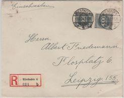 DR-Infla - 2x1.000 M. Ziffer Einschreibebrief Wiesbaden 4 - Leipzig 7.8.23 - Deutschland