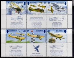 ALDERNEY 1995 AVIATION MANX AIR DERBY FLIGHT WITH LABEL COMPLETE SET SERIE COMPLETA MNH - Alderney