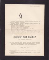 LIEGE Paul HACKEN Veuf Louisa OPHOVEN 1864-1911 Famille REGOUT DALLEMAGNE - Décès