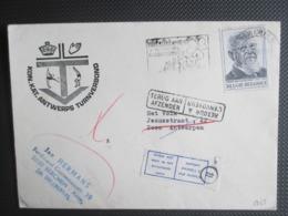 """1960 - Frans Van Cauwelaert - Alleen Op Brief, """"Terug Aan ...."""", Etiket """"Woont Niet ...."""" - Antwerps Turnverbond - Belgique"""