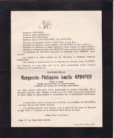STAVELOT LIEGE Marguerite OPHOVEN 1861-1945 Famille DALLEMAGNE PIRMEZ REGOUT - Décès