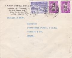 BUSTA VIAGGIATA  - BOLIVIA - LA PAZ - ARTICULOS DE FERRETERIA  DI MARIO LOPEZ SOTO  VIAGGIATA PER ORURO ( BOLIVIA ) - Bolivia