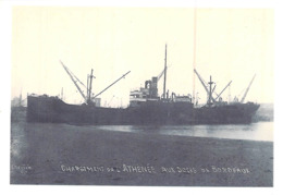 """Photo Récente Bateau """" Atnenee """" Doks De Bordeaux Delmas """"1918 Sunderland """"War Visor """" Détruit En 1935 - Repro's"""