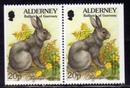 ALDERNEY 1994 1995 FLORA AND FAUNA RABBIT 20p PAIR FROM BOOKLET COPPIA DA LIBRETTO MNH - Alderney
