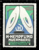 Old German Poster Stamp Cinderella Reklamemarke Vignette Hempfling Nürnberg Nuremberg Kreis-Messer Circular Blade. - Vignetten (Erinnophilie)