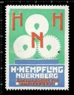 Old German Poster Stamp Cinderella Reklamemarke Vignette Hempfling Nürnberg Nuremberg Kreissägen Circle Saw. - Cinderellas