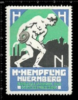 German Poster Stamp Cinderella Reklamemarke Hempfling Nürnberg Nuremberg Kreis Circular Blade Athlete Discus Throw - Cinderellas