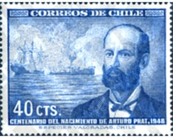 Ref. 247455 * MNH * - CHILE. 1948. ARTHUR PRAT BIRTH CENTENARY . CENTENARIO DEL NACIMIENTO DE ARTURO PRAT - Bateaux