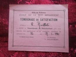 1931 École De La Rue  Mésangère VALENCE GUILLOT R. Diplôme & Bulletin Scolaire Témoignage De Satisfaction - Diplomas Y Calificaciones Escolares