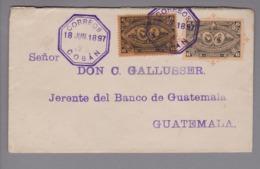 Guatemala 1897-06-18 Coban 6 Cents GS + 6 Cents Zusatzfr. Nach Guatemala - Guatemala